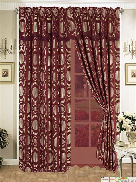burgundy floral curtains 11pc chenille circle floral geometric comforter curtain