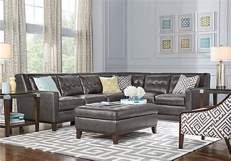 Best Prices On Living Room Furniture - 1 945 00 reina point gray leather 5 pc sectional living