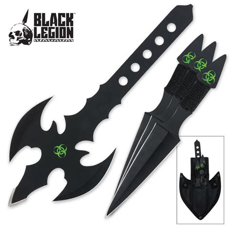 throwing axe set black legion toxic throwing axe knife set budk