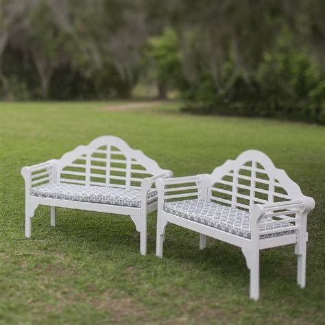 white lutyens garden bench rentals