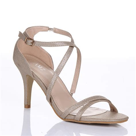 WOMENS LADIES MID HIGH HEEL STRAPPY CROSSOVER WEDDING
