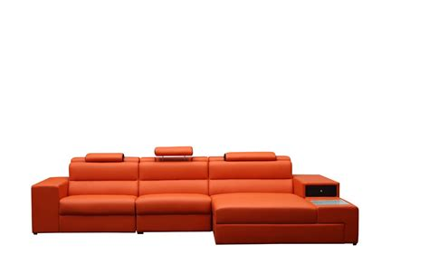 Orange Sectional Sofa Polaris Mini Contemporary Orange Bonded Leather Sectional Sofa