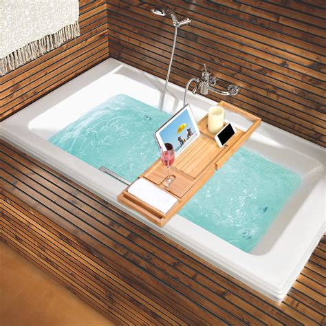 expandable bamboo bathtub caddy book tablet phone