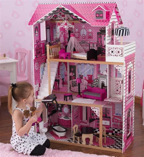 barbie doll houses at walmart kidkraft amelia doll house for barbie pink furniture wood wooden large new 65093 ebay