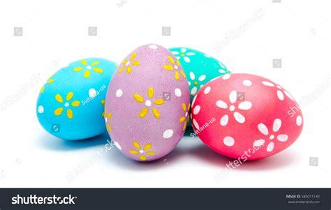 Handmade Easter Eggs - colorful handmade easter eggs isolated stock photo