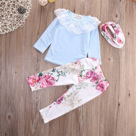 Set Hoddie Headband Handband lace flower princess newborn baby tops t shirt floral headband set toddler clothes