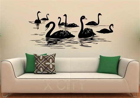 design wall art aliexpress com buy swan birds wall decal lake vinyl