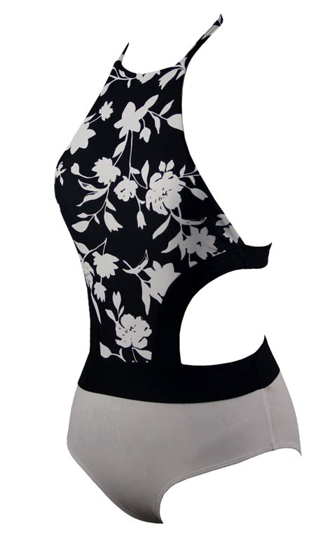 Floral Halter Monokini White L by Fashion Black And White Floral Halter Monokini Bk10775