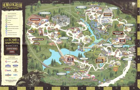 Busch Gardens Park Map by Busch Gardens Williamsburg 2010 Park Map Howl O Scream