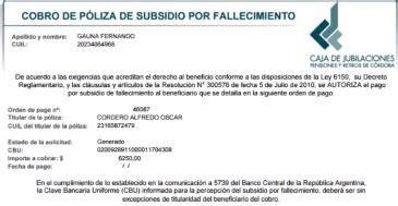 cobro de subsidio por fallecimiento caja de jubilaciones solicitar cobro del subsidio por fallecimiento en c 243 rdoba