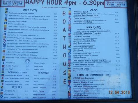boathouse happy hour happy hour menu picture of the boathouse key west