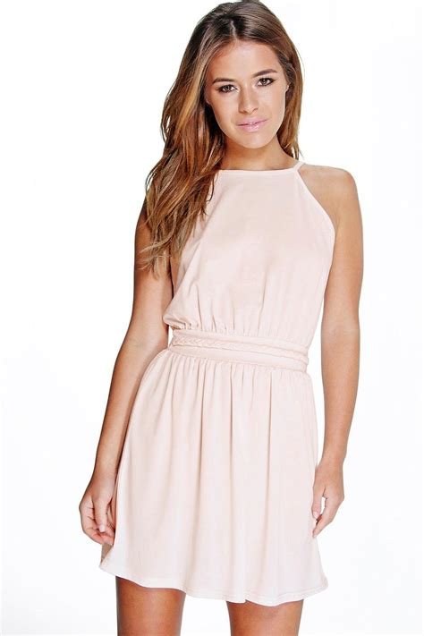 Zoe 209 Back Pink Dress boohoo womens zoe plait detail halter neck skater dress ebay