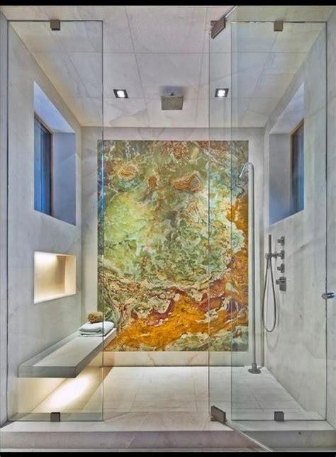 white carrara  backlit onyx shower