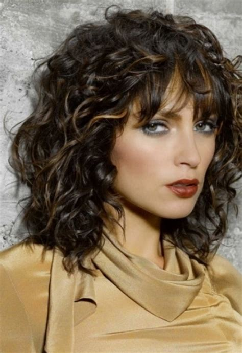 shoulder length hair with bangs curly hairstyles for medium length curly hair