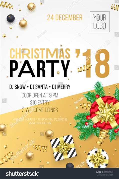 party title for christmas new year new year 2018 invitation stock vector 755945143