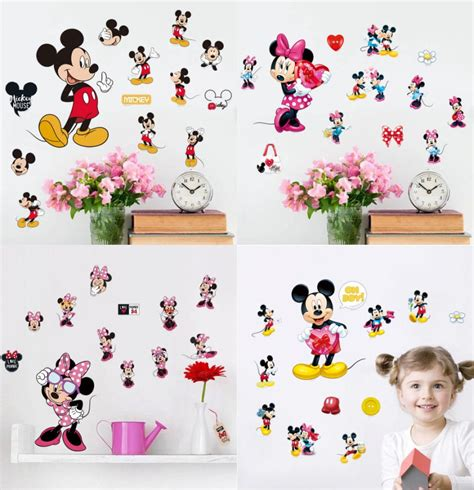 mickey mouse and minnie mouse wall sticker home decor mickey minnie mouse art vinyl diy wall decals home kids