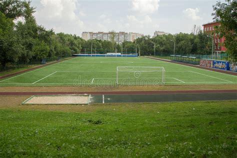 backyard soccer field backyard soccer field moscow russia stock photo image