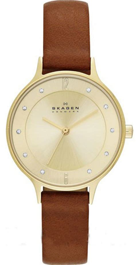 s brown skagen leather band skw2147