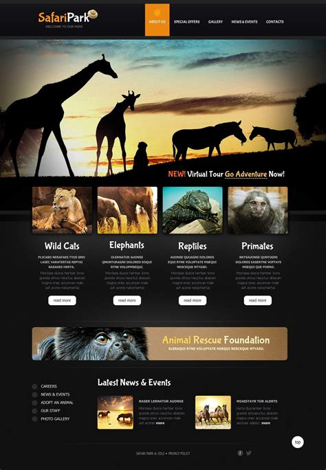 Wild Life Website Template 40768 Best Template Based Website Builder