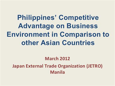 Advantage Of Mba In The Philippines by The Philippines Competitive Advantage On Business