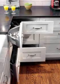 Corner Cabinet Drawers Kitchen Shaker Style Kitchen With An L Shaped Layout Maximizes Storage Space With Corner Pullout Drawers