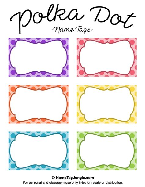 printable school tags free printable polka dot name tags the template can also