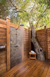 outdoor shower with vintage gooseneck shower