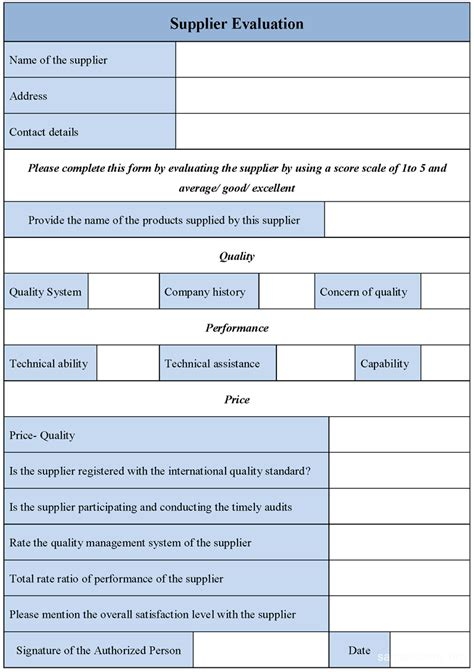 supplier form template supplier performance evaluation form search engine
