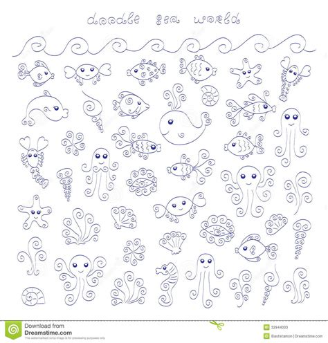 doodle sea world stock vector illustration  horse