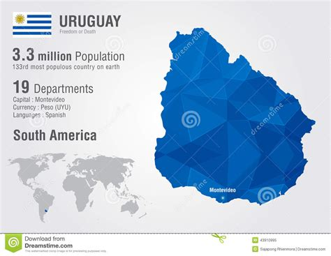 uruguay on a world map 2 uruguay world map with a pixel texture stock