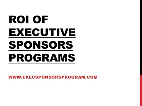 Best Roi Executive Mba by Executive Sponsor Program Roi Best Practices