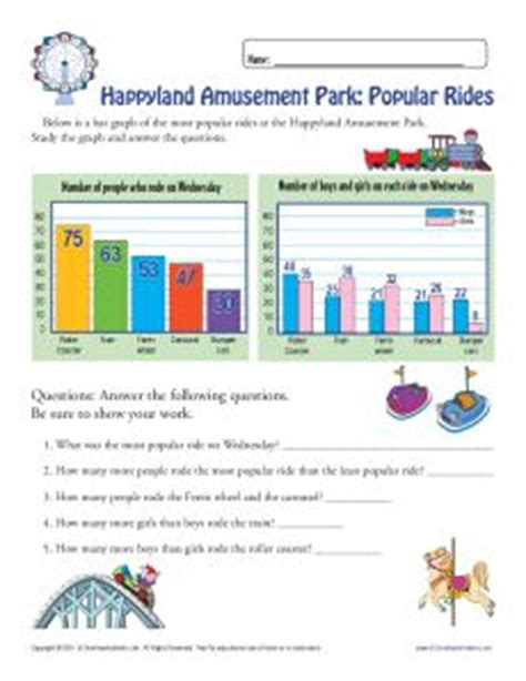 theme park maths bar graph worksheet for 3rd grade amusement park theme