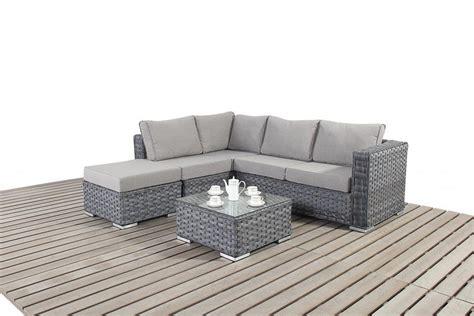 Platinum Small Grey Rattan Corner Sofa Homegenies
