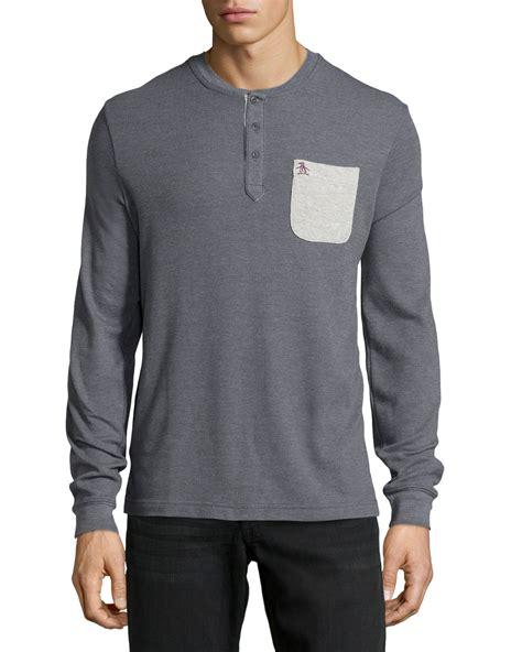 waffle knit shirt original penguin henley contrast waffle knit shirt in gray