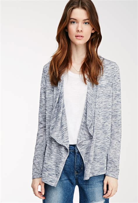 drape front cardigan love 21 drape front marled cardigan in blue heather navy