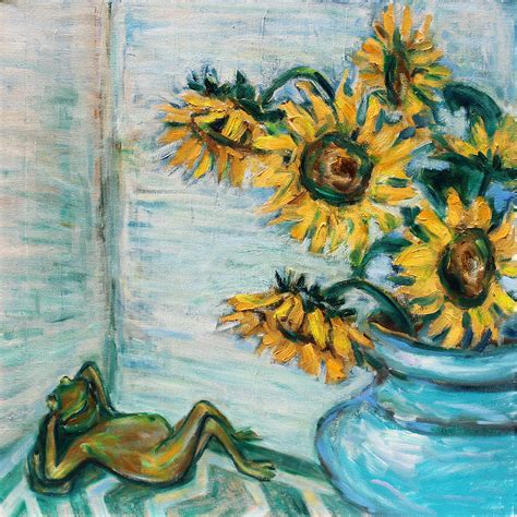 zou painting sunflowers and frog painting by xueling zou
