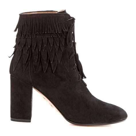 suede boots with fringe lyst aquazzura woodstock fringed suede ankle boots in black