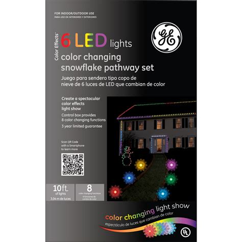 ge color changing christmas lights shop ge 6 pack led snowflake color changing pathway