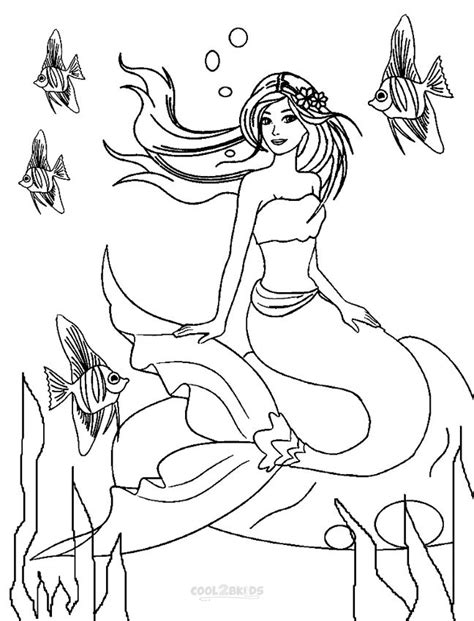 free coloring pages of mermaid dresses