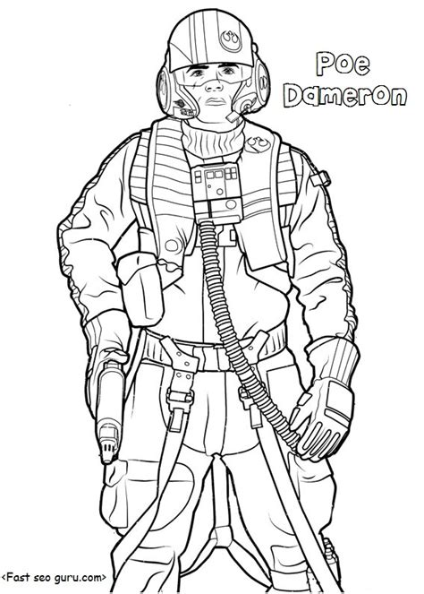 coloring pages for star wars the force awakens star wars the force awakens poe dameron coloring pages