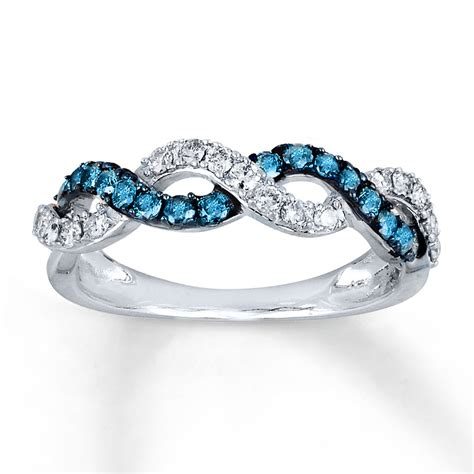 Blue Rings by Jared Blue White Ring 1 2 Ct Tw Cut 14k