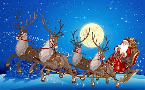 santa claus sleigh  reindeer gifts full moon desktop wallpaper hd  wallpaperscom