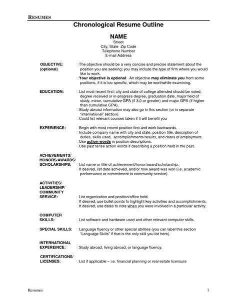 Resume For by Resume Outline Resume Cv Exle Template
