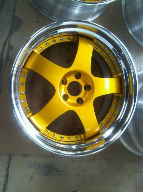 bsl16 gold paint center disk wheels 3 forged wheels for acura step outer lip with
