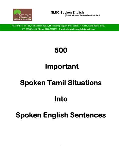 sentence pattern through tamil 500 important spoken tamil situations into spoken english