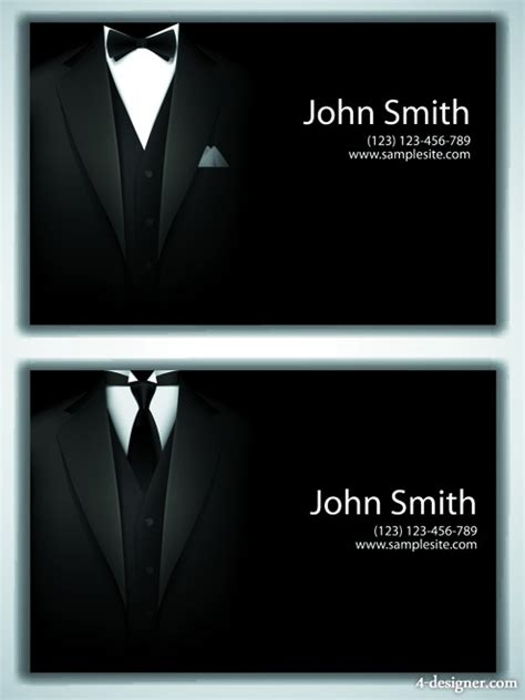 Black Suit Business Card Template by 4 Designer Gentleman Fashion Design Business Card