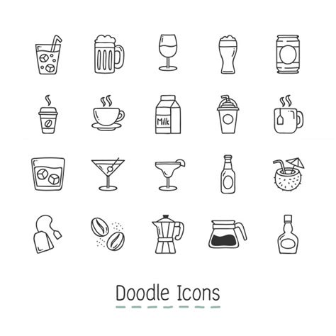 doodle icons free vectors doodle drinks icons vector free