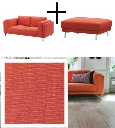 orange slipcover sofa ikea nockeby loveseat and footstool slipcovers 2 seat sofa