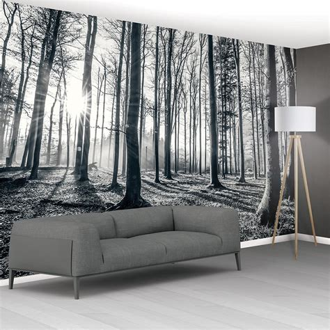 black and white wallpaper murals uk 1wall black and white forest trees mural wallpaper 366cm