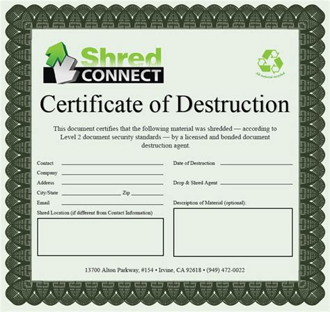 destruction certificate template 7 best images of